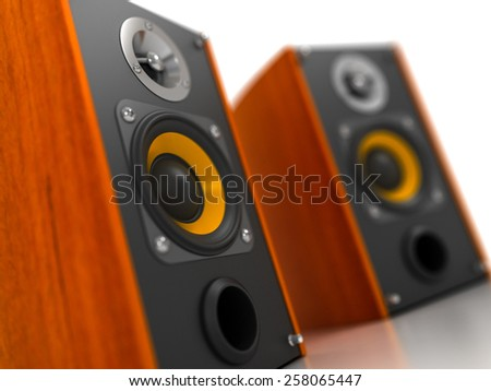 Loudspeakers - Perspective View - stock photo