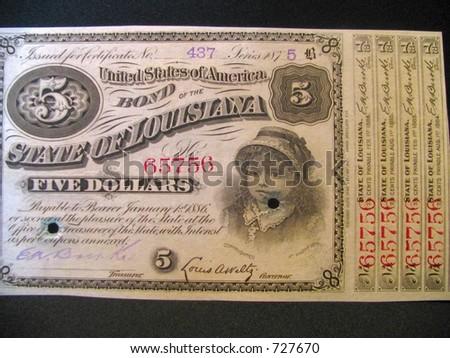 Louisiana bond five dollars vintage - stock photo