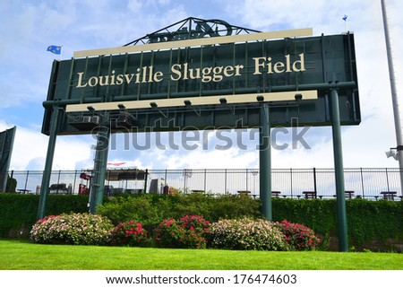LOUISVILLE, KY - MAY 1: Louisville Slugger Field sign on May 1, 2013 in Louisville, KY. Ground was broken for Slugger Field on November 13, 1998, and on April 12, 2000, it opened up to the public. - stock photo