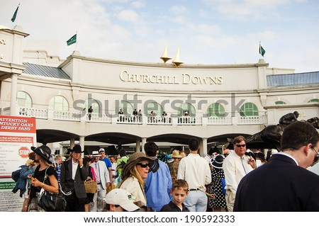 LOUISVILLE, KY - MAY 4: The exterior of Churchill Downs pictured on May 4, 2010 in Louisville, KY. Churchill Downs is home to the Kentucky Derby and Kentucky Oaks horse races. - stock photo
