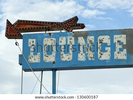Lounge Bar Neon Sign Old Signs - stock photo
