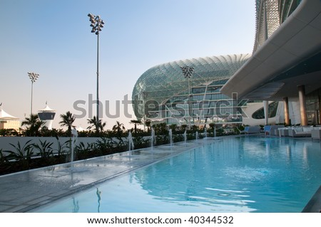 Lounge in  Hotel in Abu Dhabi at F1 Racetrack - stock photo