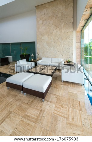 Lounge, lobby area of a hotel, office. Fragment of the modern lobby of the five stars hotel in Mexico. Interior design. - stock photo