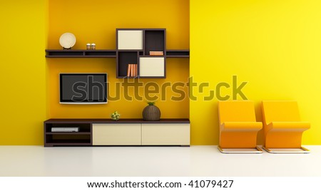 lounge room interior with bookshelf and TV 3d rendering - stock photo