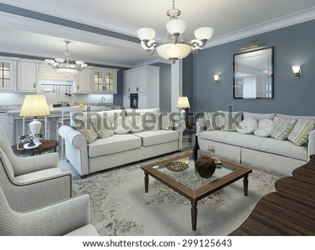 Lounge room mediterranean style. Low table in center made of dark wood with glass. Soft white sofas with pillows and white walls. That's what you need. 3D render - stock photo
