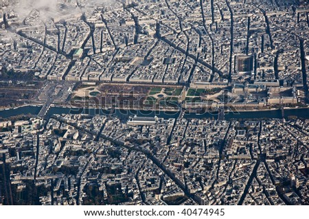 Louvre museum and its surroundings from the air in Paris, France - stock photo