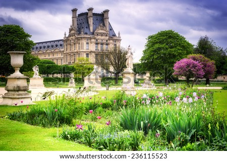 Louvre palace and Tuileries garden. Paris, France - stock photo