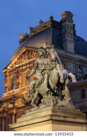Louvre - statue - stock photo
