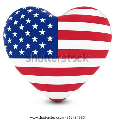 Love America Concept Image - Heart textured with US Flag - stock photo