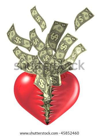 love and money relationship Isolated on white - stock photo