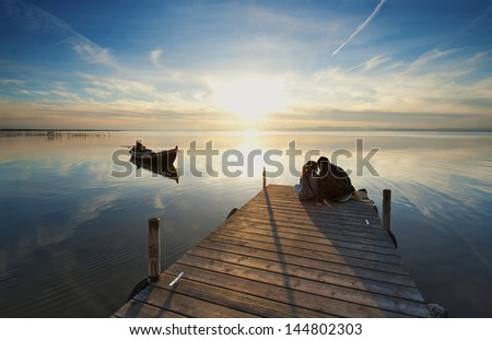 Love at the Pier - stock photo