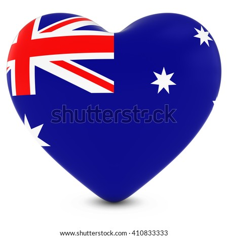 Love Australia Concept Image - Heart textured with Australian Flag - stock photo
