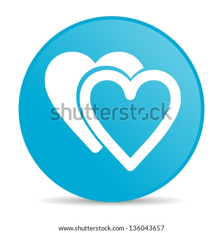 love blue circle web glossy icon - stock photo