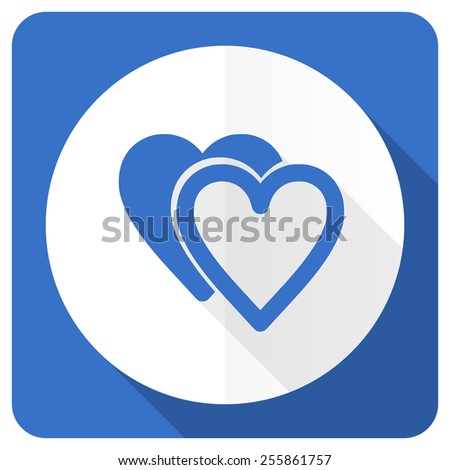 love blue flat icon sign hearts symbol  - stock photo