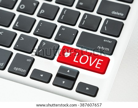 Love button keyboard (love online concept) - stock photo