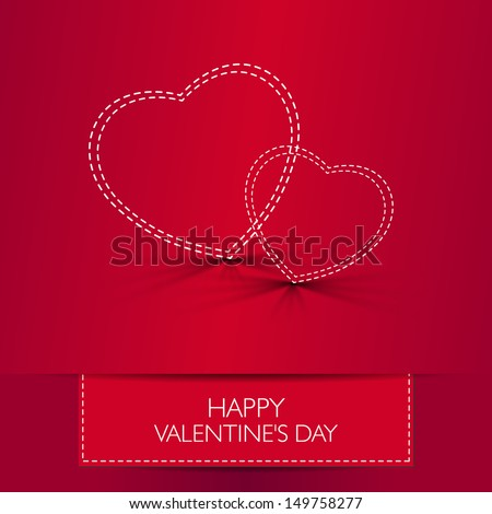 Love card Happy Valentines Day concept. Heart shape with shadow. Raster version. - stock photo