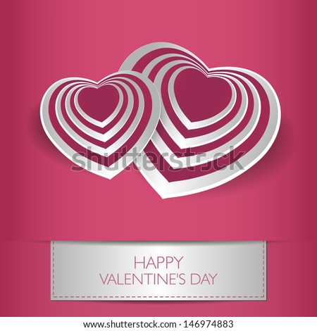 Love card Happy Valentines Day concept. Heart shape with shadow. Raster version. Vector version available in my portfolio - stock photo