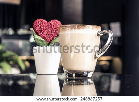 Love coffee,Heart tree,hot coffee,coffee for Valentine's day - stock photo