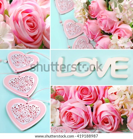 love collage with pink roses and hearts images in pastel colors - stock photo