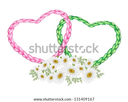 Love Concept, Illustration of Beautiful Pink and Green Heart Shapes Made of The Rope with Daisies or Chamomile Flowers - stock photo