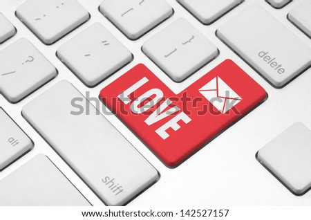 Love concept: Love key on the computer keyboard - stock photo