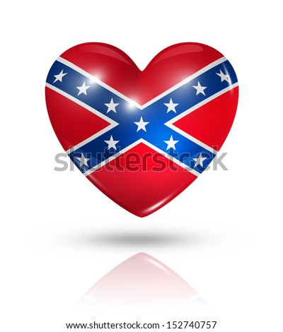 Love confederate symbol. 3D heart flag icon isolated on white with clipping path - stock photo