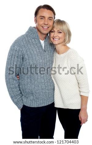 Love couple feeling the warmth of each other. All against white background. - stock photo