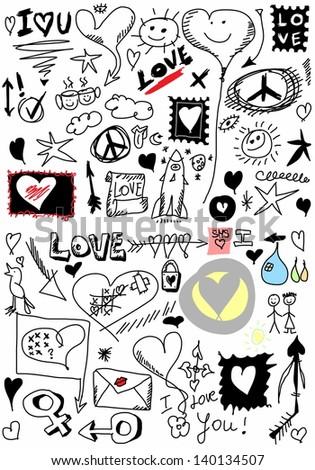Love doodle set - stock photo