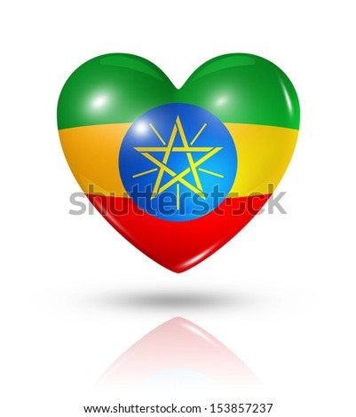 Love Ethiopia symbol. 3D heart flag icon isolated on white with clipping path - stock photo