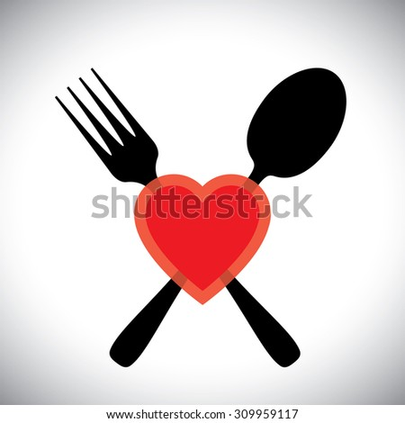 Love food concept graphic icon with spoon fork and heart symbols - stock photo