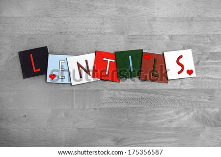 Love for Lentils, sign series for enjoying food, seeds, pulses, food and cooking ingredients, with heart symbols. - stock photo