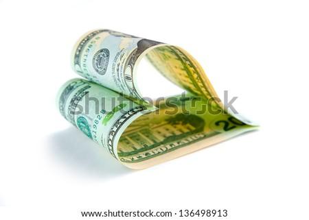 love for money. heart shape - stock photo