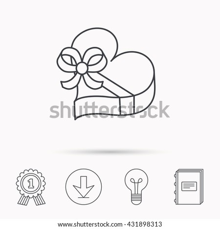 Love gift box icon. Heart with bow sign. Download arrow, lamp, learn book and award medal icons. - stock photo