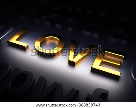 Love. Golden word on metal background. 3d render illustration - stock photo