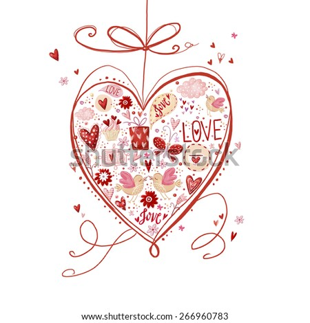 Love heart. Design element.Save the date background. Vintage background. Hand drawn.Love heart design. Valentine day card. I love You card. Love poster.Romantic concept. Wedding card. - stock photo