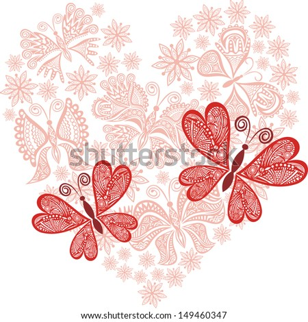 Love heart valentines day card illustration - stock photo