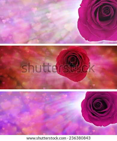 Love hearts and rose website banners  - Three different banners with soft love hearts and vivid rose ideal for valentines and mothers day backgrounds - stock photo