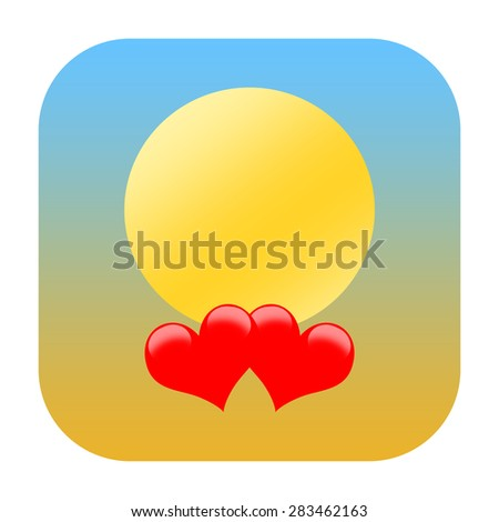 Love hearts and sun icon - stock photo
