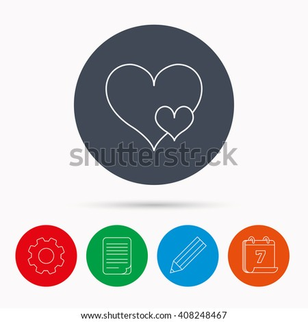 Love hearts icon. Lovers sign. Couple relationships. Calendar, cogwheel, document file and pencil icons. - stock photo
