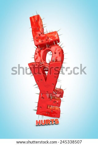 Love hurts typography on blue background - stock photo