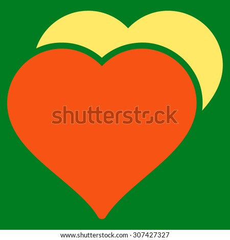 Love icon. Glyph style is flat bicolor symbols, orange and yellow colors, rounded angles, green background. - stock photo