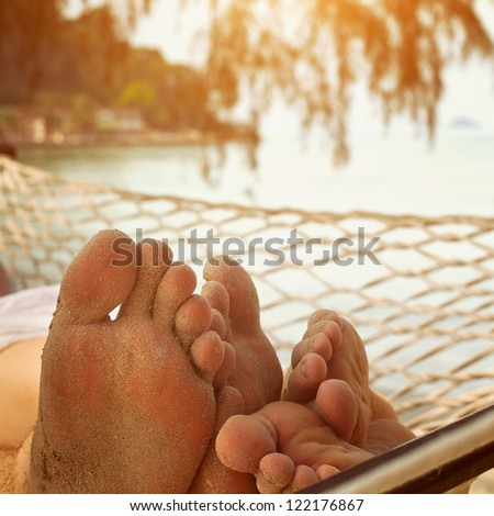 love in hammock - stock photo