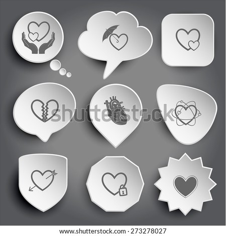 love in hands, protection love, careful heart, unrequited love, atomic heart, heart and arrow, closed heart. White raster buttons on gray. - stock photo