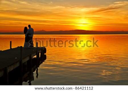 Love in the lake - stock photo