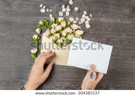 Love letter with roses. Empty space for your text. Top view - stock photo