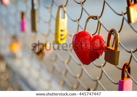Love Locks at Osanbashi Pier in Yokohama   - stock photo