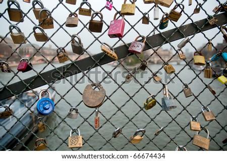 Love locks in Paris - stock photo