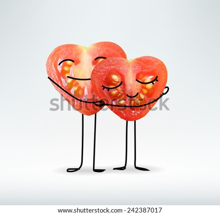 Love & lovers, couple, pair - concept .  2 tomato heart shaped together. - stock photo