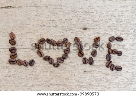 Love made by Coffee Beans - stock photo