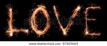 LOVE made of sparkles. Sparkles words collection. - stock photo